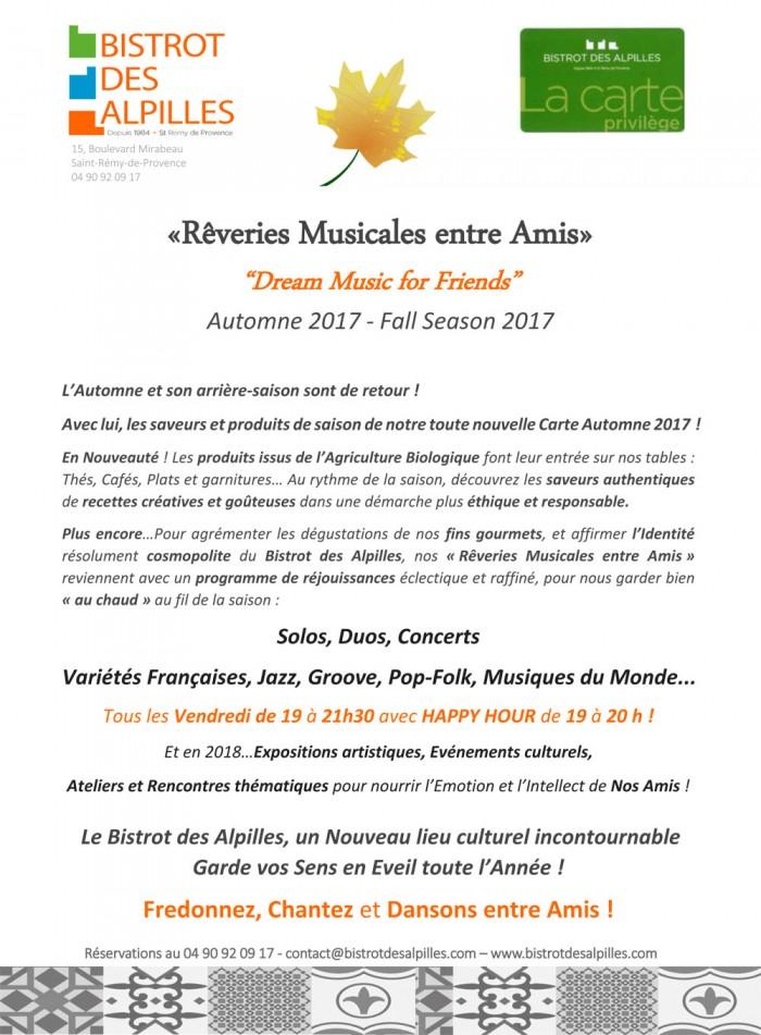 Réveries Musicales Automne 2017 bistrot des Alpilles partie 1